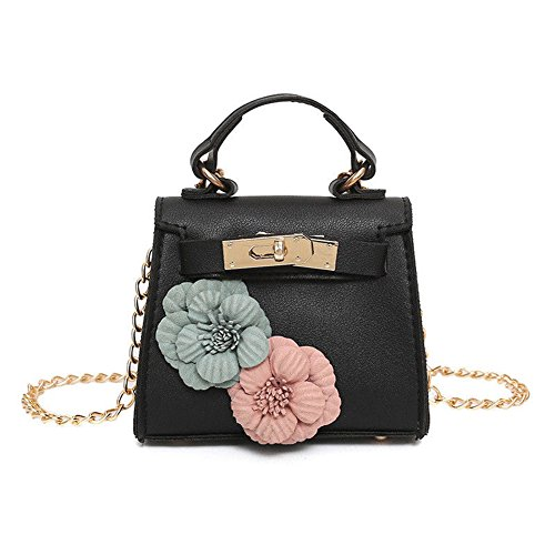 Mini Stylish Women Girl PU Leather Shoulder Bag Floral Tote Chain Handbag Satchel (Black) - Stylish Mini Tote