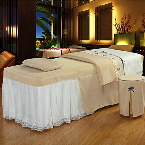 ynh Pure Color Massage Table Sheet Sets in Lace Stitching,Simple Beauty Bed Cover 4pc Breathable Coverlets for Beauty Salon Skirt Sheet,Blanket Cover,Pillowcase,Chair Cover-e 190x80cm(75x31inch)