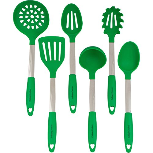 Culinary Couture Stainless Steel and Silicone Cooking Utensil Set with Ebook - Dark (Green Utensil)