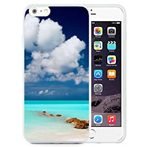 Fashion Custom Designed Cover Case For iPhone 6 Plus 5.5 Inch Phone Case With Clear Blue Sea Sky_White Phone Case