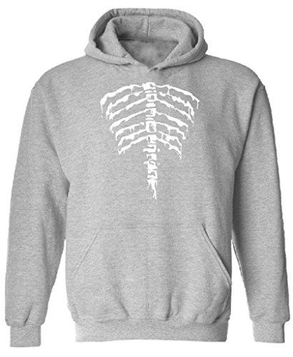 [Halloween Hoodie Back Ribcage Anatomical Skeleton Costume Hooded Sweatshirt M Gray] (Boys Skeleton Sweatshirt Hoodie Costumes)