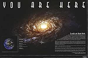 You Are Here (Carl Sagan Quote) Galaxy Planet Decorative Inspirational Poster Print, 24x36 Unframed