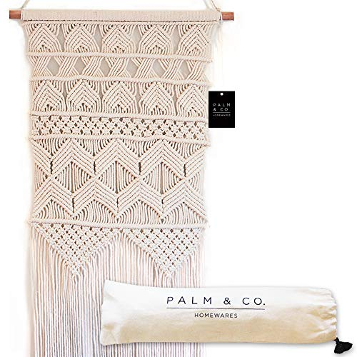 Palm & Co Homewares Macrame Woven Wall Hanging - Boho Chic Bohemian Wall Art Decor - Woven Tapestry, Natural Cotton Cord 17 x 30, Handmade Wall Hangings for Home, Apartment, Dorm Room or Nursery