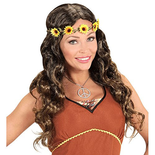 widmann Hippie or Medieval Wig with Floral Headband in Bags, One Size -