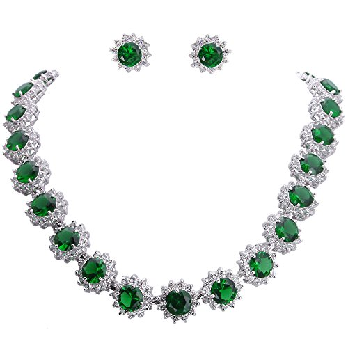 EVER FAITH Elegant Star Round Prong Emerald Color CZ May Birthstone Necklace Earrings Set (Company Masquerade Jewelry)