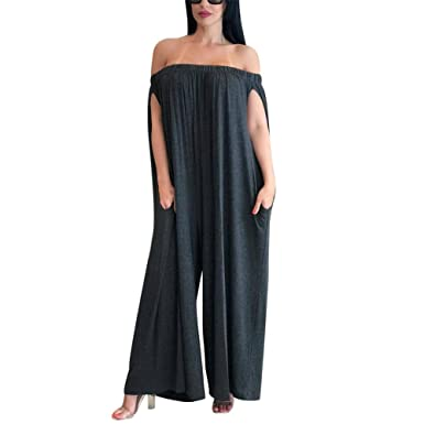 9cd83e93371 Amazon.com  Kafiloe Womens Off The Shoulder Loose Wide Leg Palazzo Pants  Jumpsuit Long Rompers Summer Casual Plus Size  Clothing
