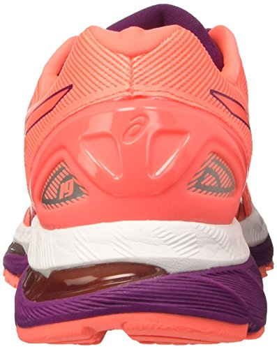 White Running Asics 19 Coral de Dark Purple para Gel Zapatillas Mujer Nimbus Flash Naranja AAR4Oqg