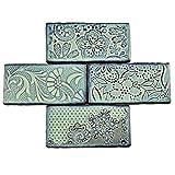 SomerTile WCVAFA Antigue Feelings Agua Marina Ceramic Wall Tile, 3'' x 6'', Green/Blue/Brown
