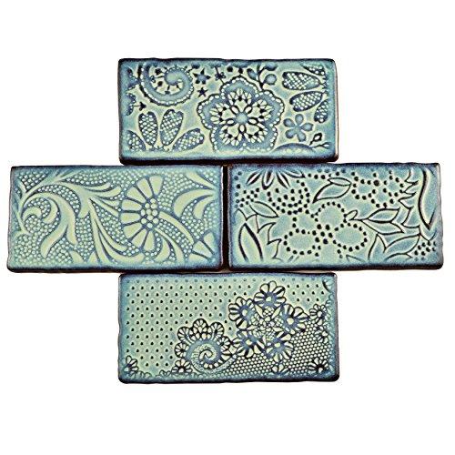 SomerTile WCVAFA Antigue Feelings Agua Marina Ceramic Wall Tile, 3