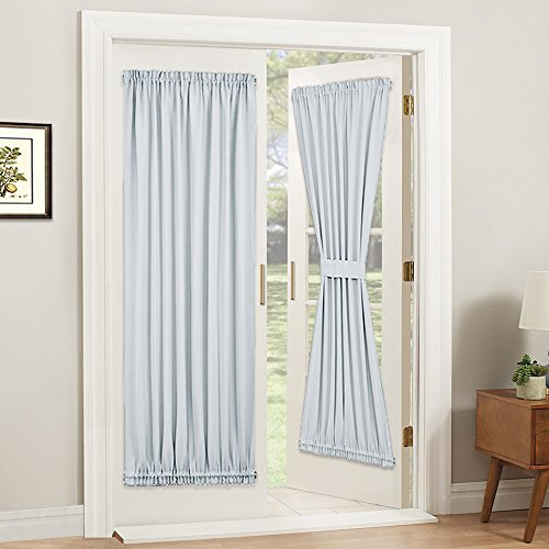 (PONY DANCE White Door Curtain - Window Treatments Solid Energy Efficient Rod Pocket French Patio Door Panel with Tieback in Same Color Material, 54