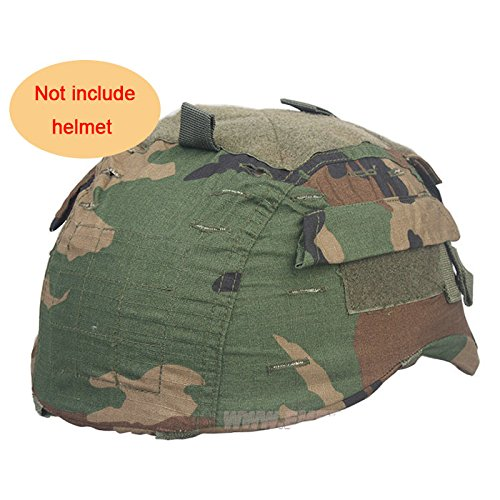 H World Shopping Tactical Military Airsoft Hunting Helmet Cover W/Back Pouch for MICH 2001 Woodland Camo (2001 Airsoft Helmet Mich)