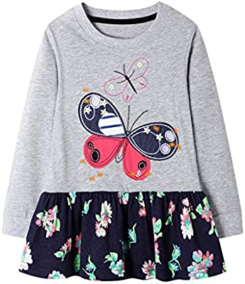 BIBNice Toddler Girls Cotton Longsleeve Casual Dresses 18M-7T