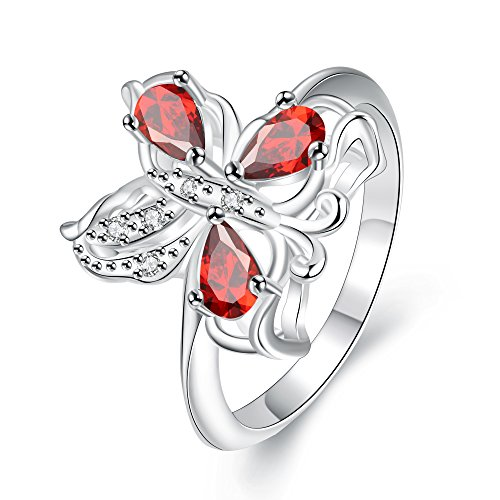 LuckyWeng Women's Pear Cut 3 Prong CZ Red Two Tone Pave Gypsy Butterfly Silver Plated Bands Engagement Rings