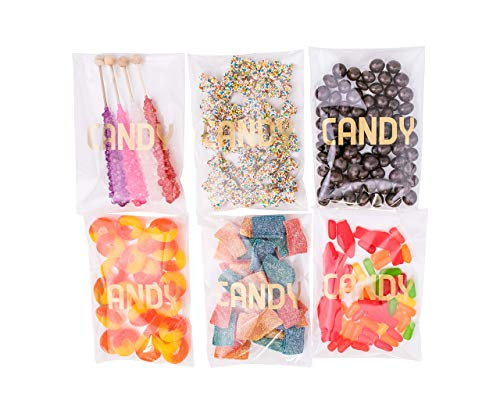 Sweet Details Party Co. Cellophane 'Candy' Bags {100 Pack} Gold & Clear Goodie Bags for Candy Bar & Buffet Gifts- Wedding/Birthday Party Favor Bags- Self-Sealing & Resealable Adhesive - NO Ties!