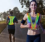 NeatTimes LED Reflective Vest USB Rechargeable for Running Cycling Hiking in Night Sport, Make You Visible,Safe & Seen, Size Adjustable for Men and Women