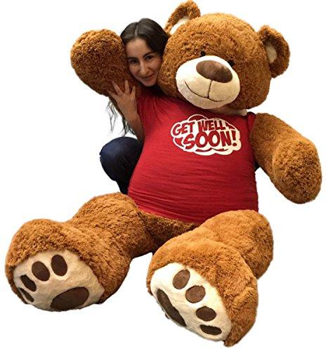 (Big Plush 5 Foot Giant Teddy Bear Wearing GET Well Soon T-Shirt 60 Inch Soft Cinnamon Brown Color Huge Teddybear )