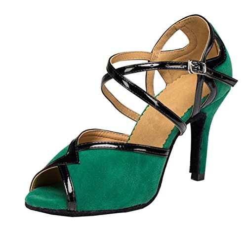 TDA Womens Peep Toe Ankle Strap Suede Classic High Heel Ballroom Latin Dance Shoes Green 45X1GgZTis