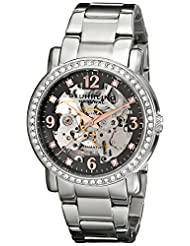 Stuhrling Original Women's 531L.111154 Classic Delphi Canterbury Automatic Skeleton Swarovski Crystal Accented Grey Dial Watch