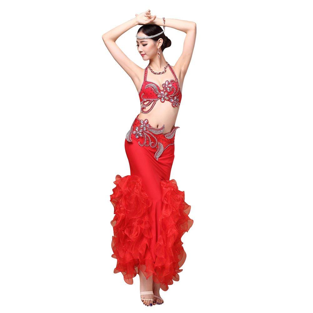 (ヨゾデメ)GUILTY BEAUTY ベリーダンス衣装 ビーズ刺繍プロ仕様ダンス服 3点セット ブラジャー 腰ベルト マーメイドスカート B01FAGHYXE レッド S