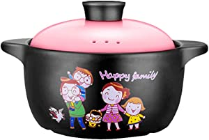 Casseroles Casserole,household Ceramic Stew Pot,with Lid Porridge Pot,gas Stove,microwave Oven,cartoon Pattern,suitable For 2-4 People (Color : Pink, Size : 3000ml)