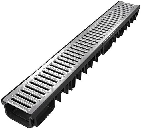 Canaleta rejilla de drenaje (kit completo), | acero galvanizado, negro o gris, | tipo 50 (desagüe).: Amazon.es: Jardín