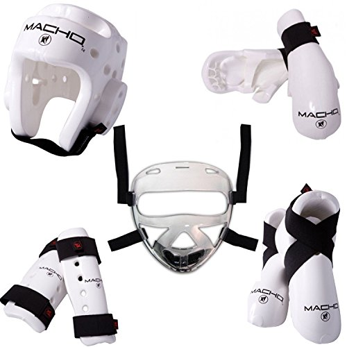 Macho Dyna 8 piece sparring gear set with shin guards and face shield child medium