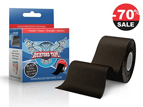 ROCKFORD KINESIOLOGY - PREMIUM Kinesiology Tape For Athletes - Therapeutic Elastic Tape. Athletic Trainers First Choice for Pain Relief & Muscle Support