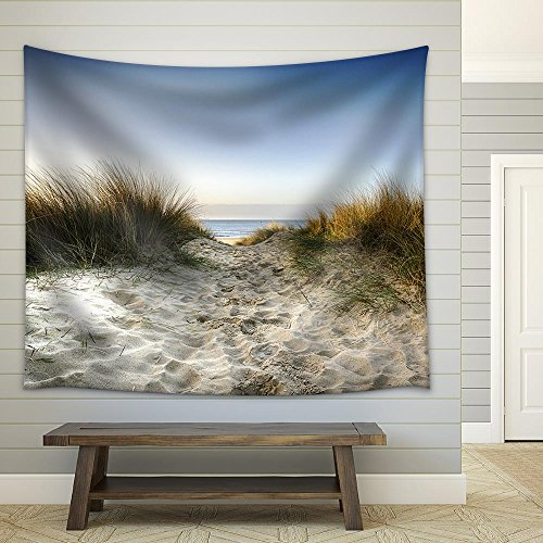 - wall26 - Path Leading Thorugh Sand Dunes to The Beach at Sandbanks in Poole, Dorset - Fabric Wall Tapestry Home Decor - 68x80 inches