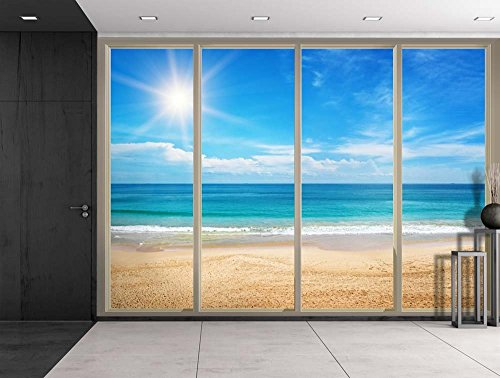 Bright Sun Radiating Over the Blue Ocean Viewed From Sliding Door Creative Wall Mural Peel and Stick Wallpaper
