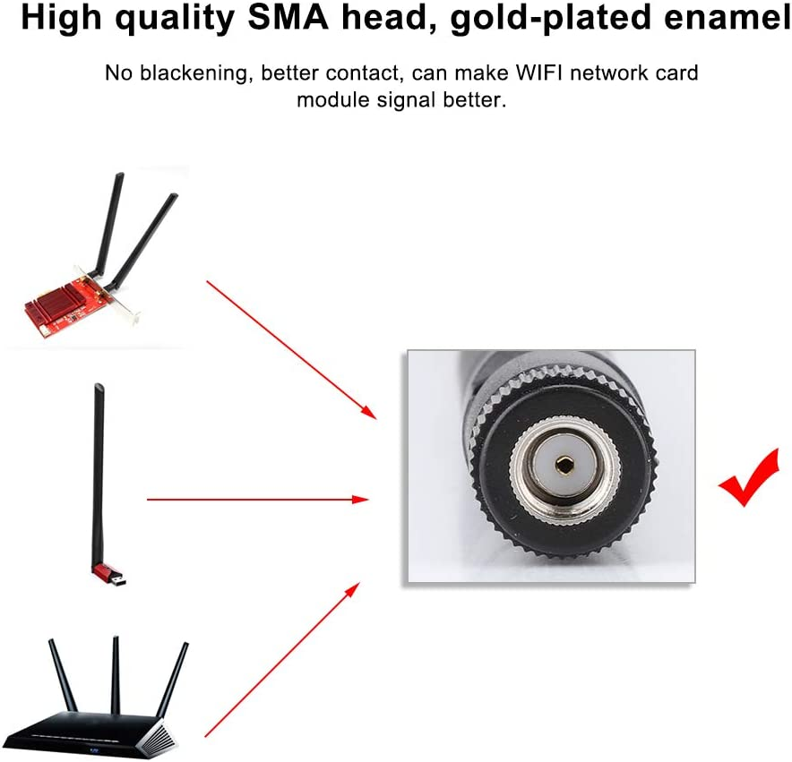 Kafuty 2PCS Cable de Tarjeta de Red M.2 / NGFF y 2X 6DBi Antena para Intel 9260NGW / 7265AC / 9650AC / BCM94360 con Cabezal SMA Compatible con Varios ...