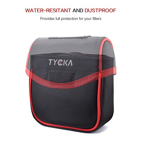 Tycka Field Filters Case for Round Filters Up to 86mm, Belt Style Design Filter Pouch, Removable Inner Lining and Water-Resistant and Dustproof Design, Black