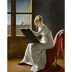 Oil Painting 'Marie-Denise Villers-Portrait Of A Young Woman Drawing,1801' Printing On Perfect Effect Canvas , 8x10 Inch / 20x25 Cm ,the Best Game Room Gallery Art And Home Decor And Gifts Is This Replica Art DecorativeCanvas Prints