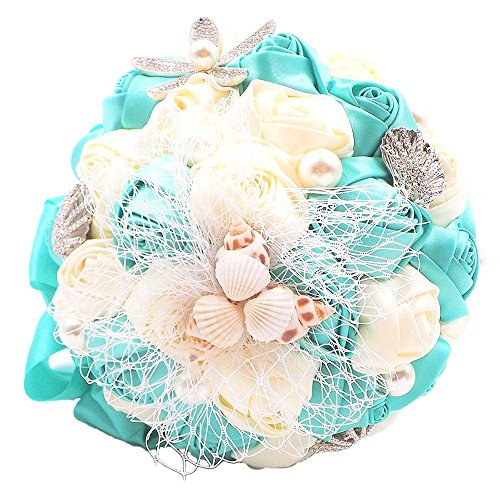 Abbie Home Beach Wedding Bridal Bouquet Holding Tossing Flower with Pearl Seashell and Rhinestone Decoration-Turquoise (Best Flowers For Beach Wedding)