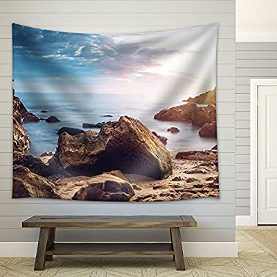 Seashore with Rock Stones Under The Sunset Fabric Wall