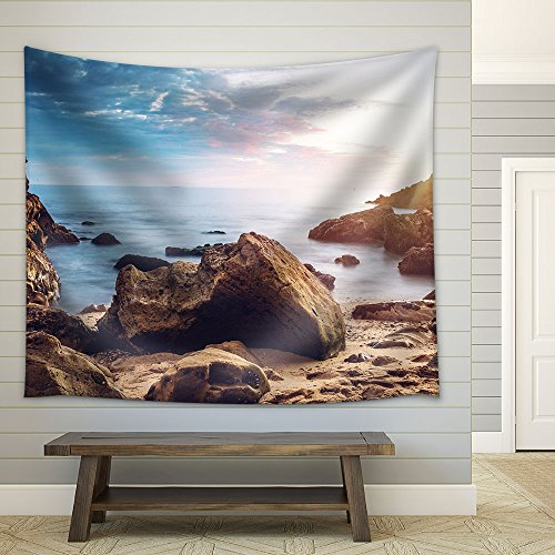 Seashore Rock Stones under the Sunset Fabric Wall