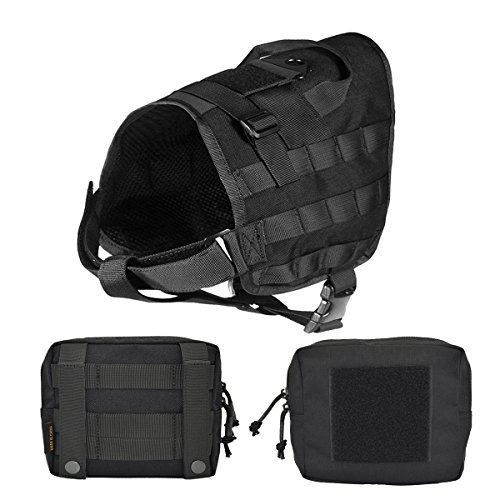 Girth Detachable Ring (Petsidea Tactical Dog Molle Vest Harness Adventure K9 Hunting Training Vest Kits with Removable Saddle Bags Pouches (Black, Medium))