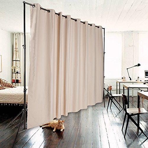 Xmas PROMO ONXO Room Divider Curtain Total Privacy Office Divider Multifunctional Curtain - Stands Not Included(H8'xL10', Beige)