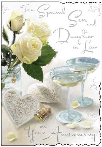 Cartoline Anniversario Matrimonio.Cartolina Per Anniversario Di Matrimonio Di Genero E Nuora Jj1047