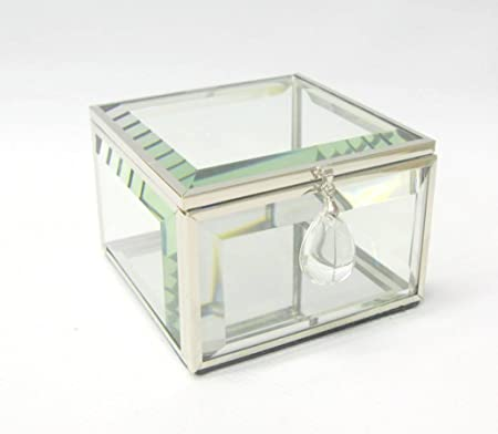 Hestia Cristal y Metal Caja de joyería Cuadrada con Cristal Gota 3,25