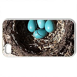 Bird's Nest - Case Cover for iPhone 4 and 4s (Watercolor style, White)