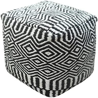 Christopher Knight Home 304839 Adams Outdoor Modern Boho Pouf, Black with White