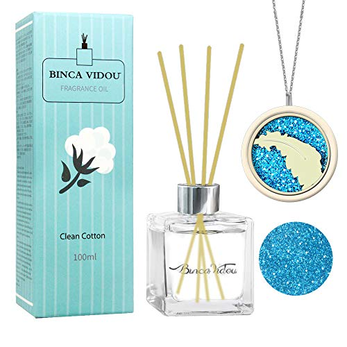 (binca vidou Reed Diffuser Clean Cotton with Essential Oil Necklace, Fragrance Oil Diffuser Set with Natural Sticks for Bedroom Bathroom Office Gift Idea 100 ml/3.4)