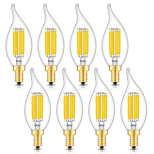 60w Clear Tip Bent - CRLight 6W 3000K LED Candelabra Bulb Soft White 700LM Dimmable, 70W Equivalent E12 Base LED Candle Bulbs, Antique CA11 Clear Glass Flame Shape Bent Tip, Pack of 8