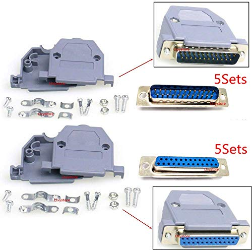 RS232 Parallel Serial Port 2 Rows DB25 25 Pin D Sub Male/Female Solder Connector + Plastic Assemble Shell Cover VAG Adapter, Pack of 10, By Ltvystore