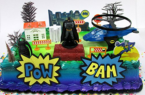 Super Hero Batman Birthday Cake Topper Set Featuring Batman Figure and Decorative Themed Accessories