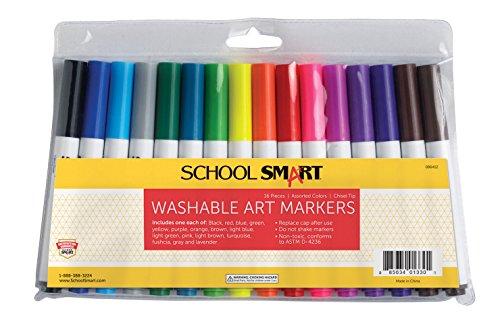 School Smart Chisel Tip Washable Markers - Set of 16 - Assorted Colors (Tip Chisel Marker Washable)
