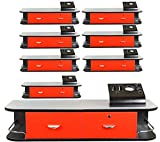 8x LCL Beauty Red Locking Wall Mount Styling Station with Stainless Steel Top, Black Metal Tabletop Appliance Holder & 4 Port Power Strip