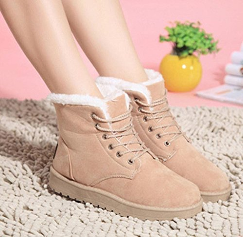 Gillberry Fashion Women Boots Flat Ankle Lace Up Lined Winter Warm Snow Shoes Beige fx6SjO6L0