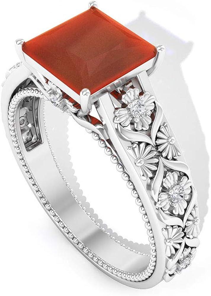 Anillo de compromiso de ónix rojo de 1,4 quilates, filigrana vintage, anillo de boda de piedra preciosa de corte princesa, SGL certificado de diamante IJ-SI, 14K Oro rosa, Size:EU 69