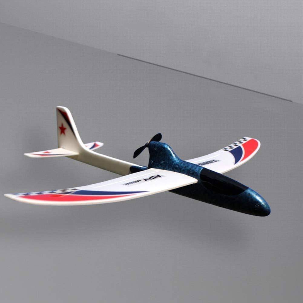 Avión RC Juguete Educativo DIY Planeador Modelo de Regalo Espuma Niños Streamline Condensador eléctrico Lanzamiento de la Mano Divertido(Azul)